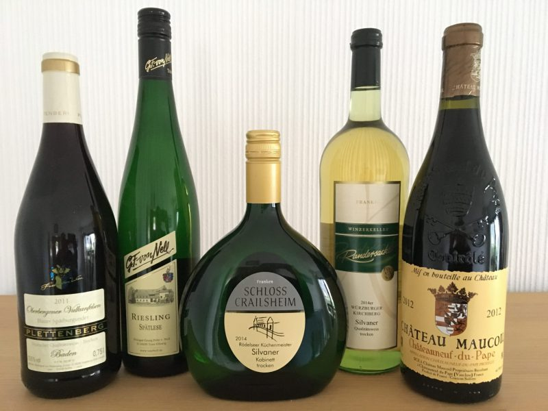 Wine bottles of German and French wine