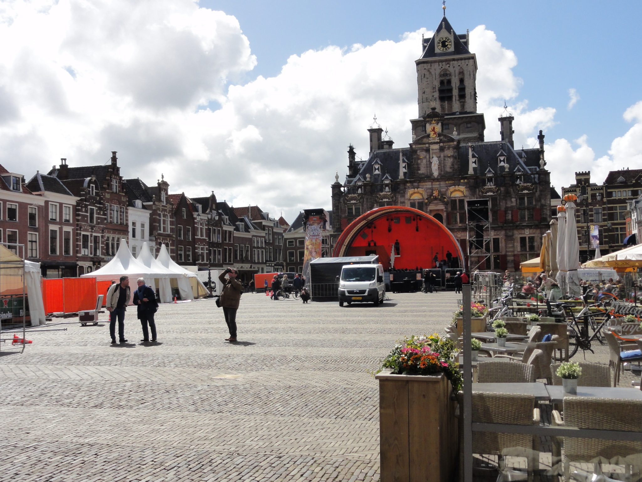 Market square Delft getting ready for kingsday