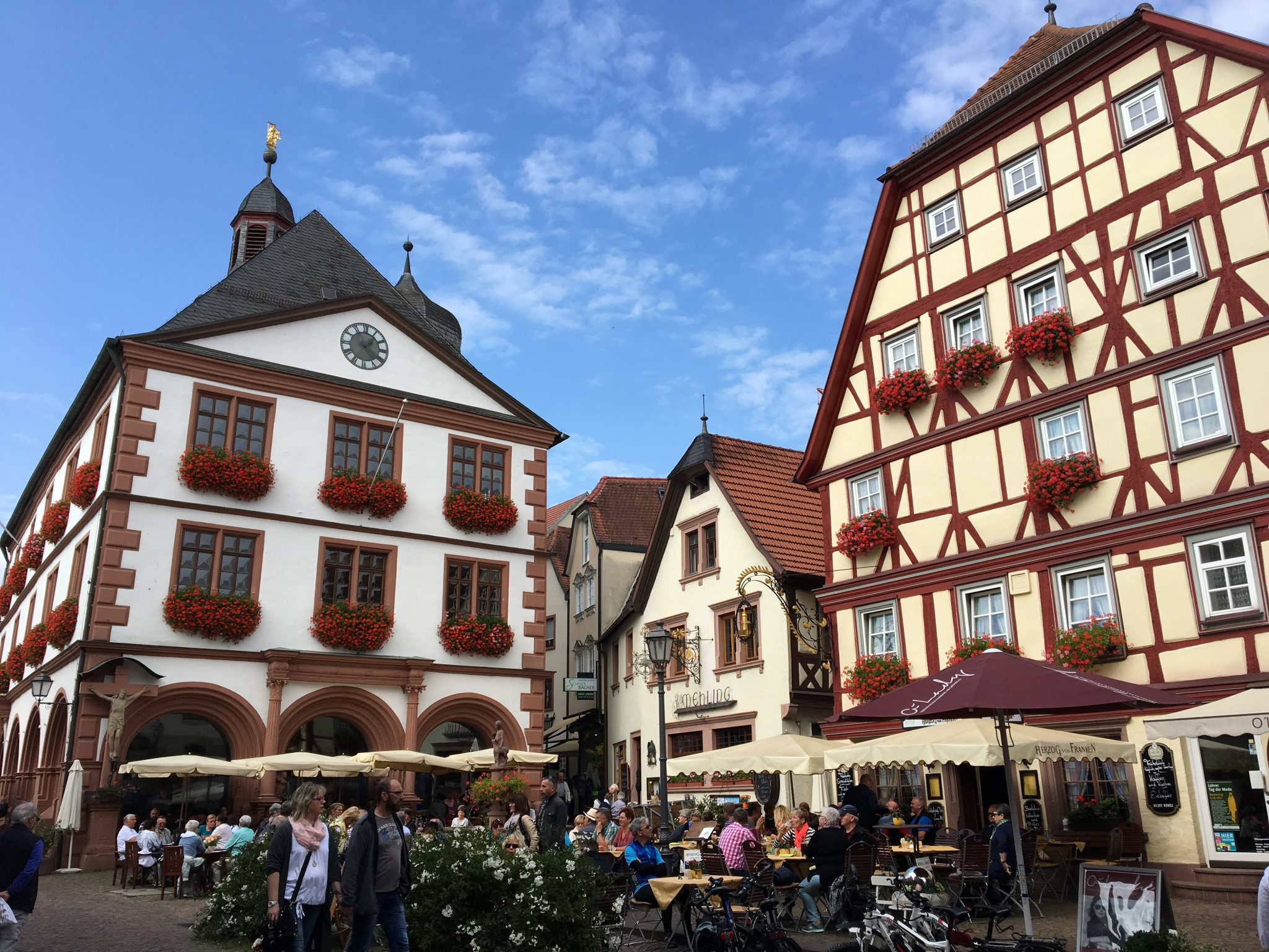 "Market square Lohr am Main during escorted motorhome tour ""Germany's Romantic Road"""