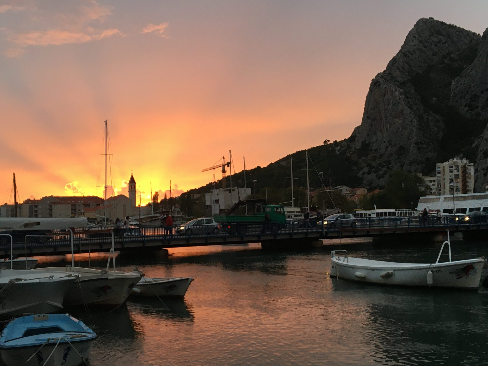 Sunset Omis harbour